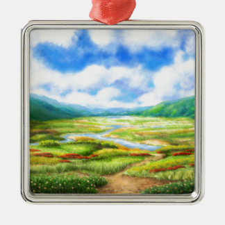The Fields Are Teeming With Mellow Silver-Colored Square Decoration