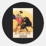 The Fiesta De Toros In Spain Classic Round Sticker