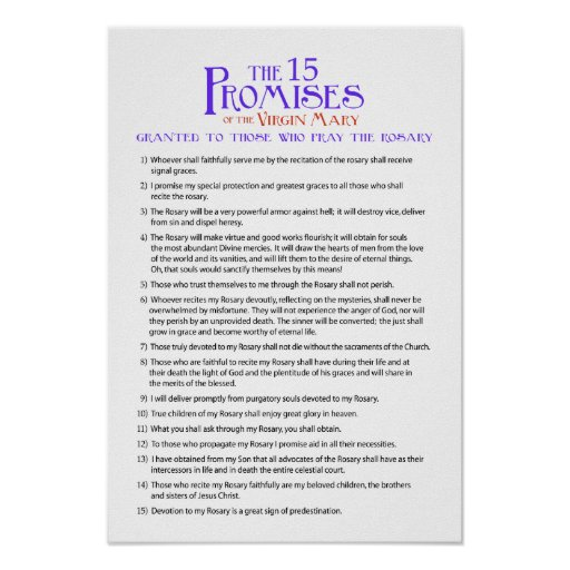 The Fifteen Rosary Promises Poster