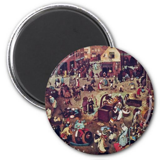 The Fight Between Carnival And Lent,  By Bruegel 6 Cm Round Magnet