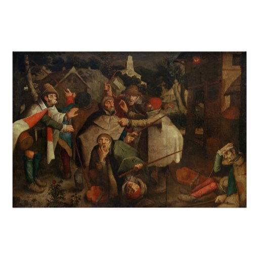 The Fight of the Blind Men, 1643 Poster
