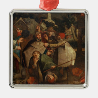 The Fight of the Blind Men, 1643 Silver-Colored Square Decoration