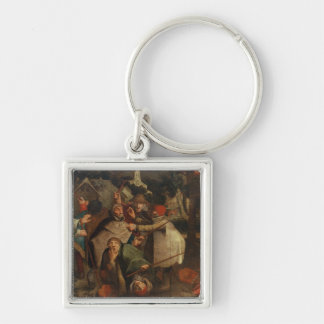 The Fight of the Blind Men, 1643 Silver-Colored Square Key Ring