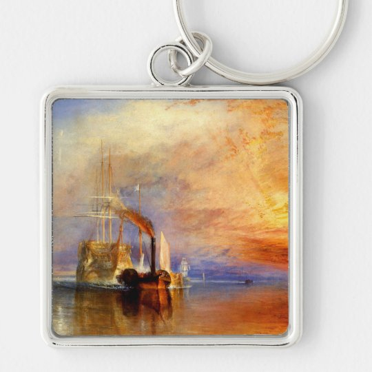 The Fighting Temeraire, J. M. W. Turner Silver-Colored Square Key Ring