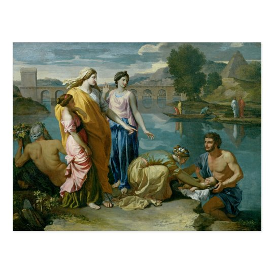 The Finding of Moses, 1638 Postcard