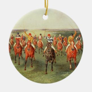 The Finish of the Two Thousand Guineas at Newmarke Round Ceramic Decoration