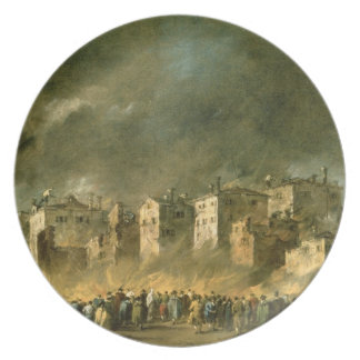 The Fire at San Marcuola (oil on canvas) Dinner Plates