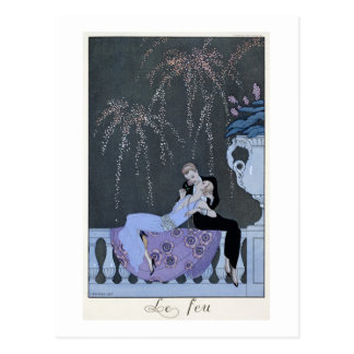 The Fire, illustration for 'Fetes Galantes' by Pau Postcard