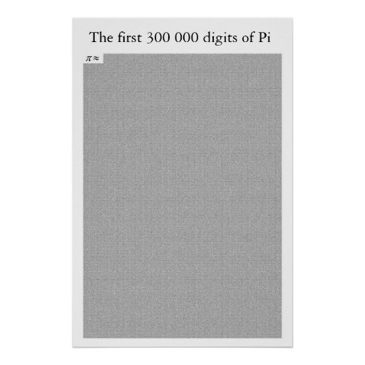 The first 300 000 digits of Pi Print