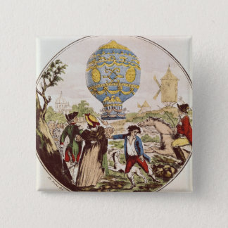 The First Aerial Voyage by Monsieur Francois 15 Cm Square Badge