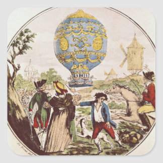 The First Aerial Voyage by Monsieur Francois Square Sticker