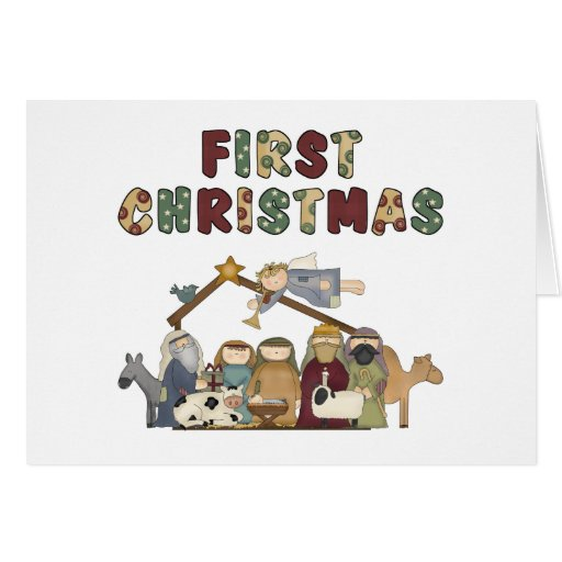 The First Christmas Nativity Scene Card