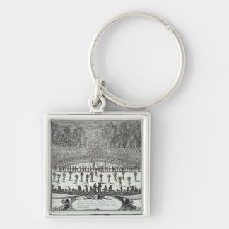 The First Day Festival of 'Les Plaisirs de Silver-Colored Square Key Ring
