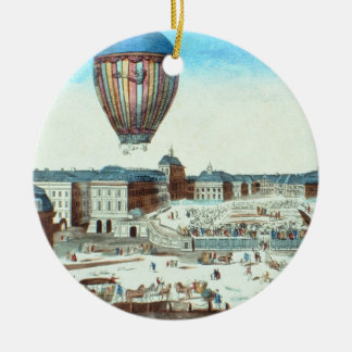 The first flight of Pilatre du Rozier's hot-air ba Double-Sided Ceramic Round Christmas Ornament