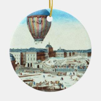 The first flight of Pilatre du Rozier's hot-air ba Round Ceramic Decoration