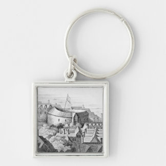 The First Globe Theatre or Rose Theatre Silver-Colored Square Key Ring