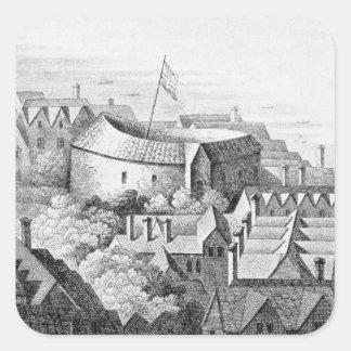 The First Globe Theatre or Rose Theatre Square Sticker