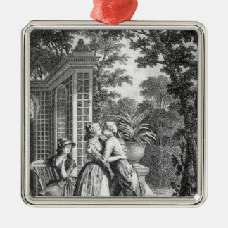 The First Kiss of Love Silver-Colored Square Decoration
