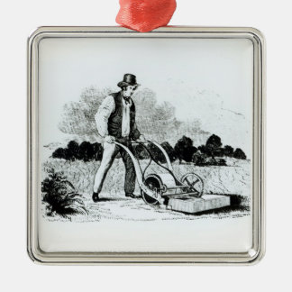 The first lawnmower (engraving) (b/w photo) christmas ornament