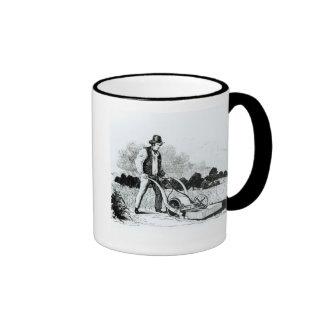 The first lawnmower (engraving) (b/w photo) ringer mug
