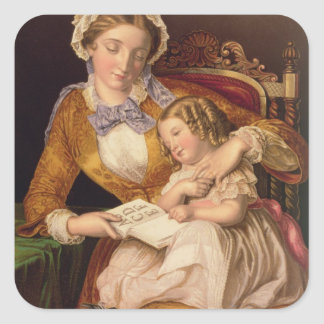The First Lesson, pub. by Baxter, 1855 (print) Square Sticker