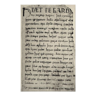 The First Page Of Beowulf Print
