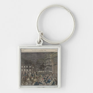 The First Performance of 'Lohengrin' Silver-Colored Square Key Ring