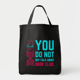 The first rule of book club funny phrase grocery tote bag