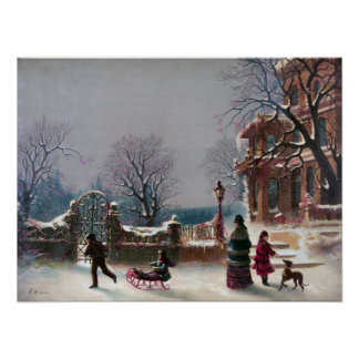 The First Snow Christmas scene Archival print