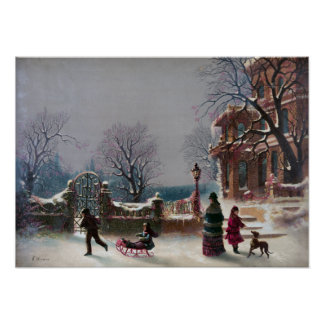 The First Snow Christmas scene Poster