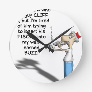 THE FISCAL CLIFF ROUND WALL CLOCKS
