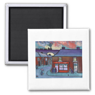 THE FISH AND CHIP SHOP SQUARE MAGNET