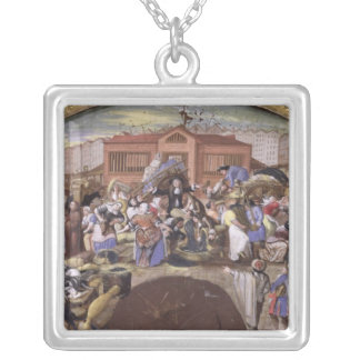 The Fish Market at Les Halles, c.1660 Silver Plated Necklace