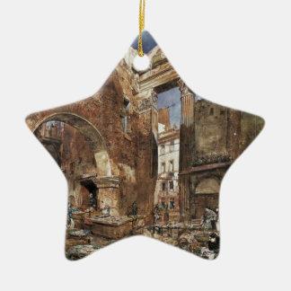 The fish market in Rome by Rudolf von Alt Ceramic Star Decoration