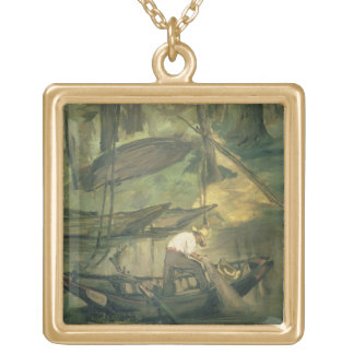 The Fisherman, c.1861 (oil on canvas) Square Pendant Necklace