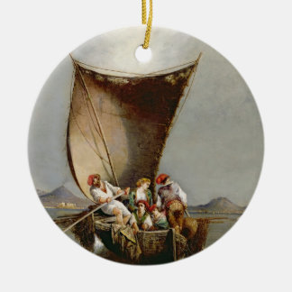 The Fisherman's Family (oil on canvas) Christmas Ornament