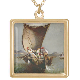 The Fisherman's Family (oil on canvas) Gold Plated Necklace