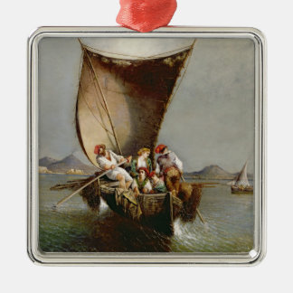 The Fisherman's Family (oil on canvas) Silver-Colored Square Decoration