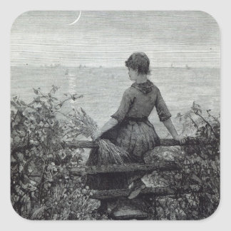 The Fisher's Lass, from 'Leisure Hour', 1888 Square Sticker