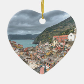 The fishing village of Vernazza, Cinque Terre, Ita Ceramic Heart Decoration