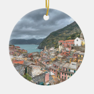 The fishing village of Vernazza, Cinque Terre, Ita Round Ceramic Decoration