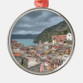 The fishing village of Vernazza, Cinque Terre, Ita Silver-Colored Round Decoration