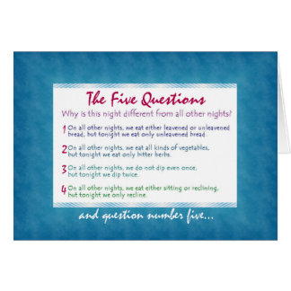 The Five Questions of Pesach Greeting Card
