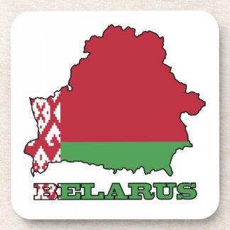 The Flag in Map of Belarus Beverage Coaster