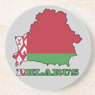 The Flag in Map of Belarus Sandstone Coaster