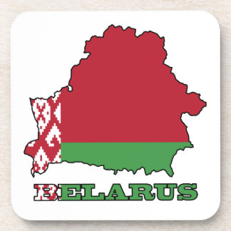 The Flag in Map of Belarus Beverage Coaster