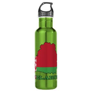 The Flag in Map of Belarus 710 Ml Water Bottle