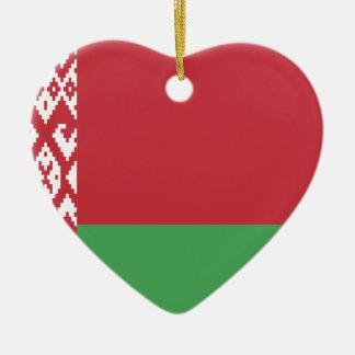 The Flag of Belarus Ceramic Heart Decoration