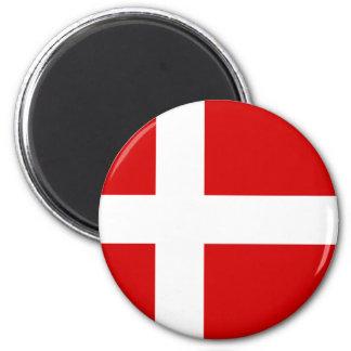 The Flag of Denmark 6 Cm Round Magnet
