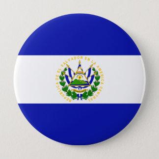 The Flag of El Salvador. 10 Cm Round Badge